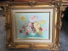 More details for vintage original still life floral oil on board painting signed r cox