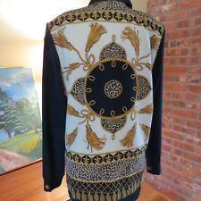Womens  Vtg Baroque Scarf Print Barocco Blouse Gold Roping Tassels Small 8