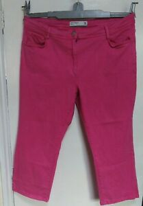 Next Trousers Jeans Soft Touch Crop Pink With Stretch Size UK 18 Petite