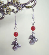 Pretty Cherry Charm and Red Quartz Bead Dangly Earrings