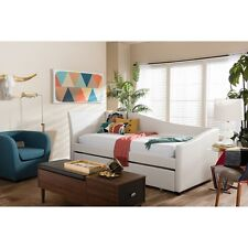 Baxton Studio Vera White Faux Leather Upholstered Curved Sofa Twin Daybed NEW