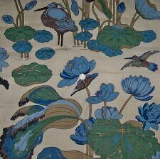 LEE JOFA KRAVET NYMPHEUS BIRDS TOILE LINEN FABRIC 10 YARDS BLUE TEAL AQUA MULTI