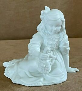 Dept 56 white figurine girl with doll bisque department vintage child solid
