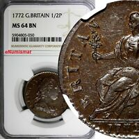 Great Britain George III Copper 1772 1/2 Penny NGC MS64 BN RARE KM# 601 (050)