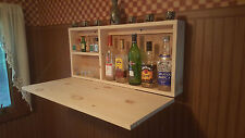 Unfinished Knott Pine Murphy Bar Man Cave Liquor Cabinet Room  Fold Up Wallmount