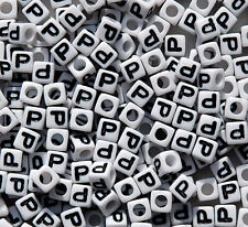 Letter P - 100pc 7mm Alphabet Beads White with Glossy Black Letters