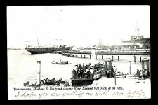 Portsmouth - Harbour & Dockyard showing King Edward 7th Yacht - printed postcard