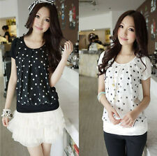 Fashion Womens Girls Polka Dots Print Chiffon Splice Tee Shirt Blouse Tops