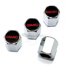 (4) GMC Red Logo Chrome ABS Car Tire/Wheel Pressure Air Stem Valve CAPS Covers
