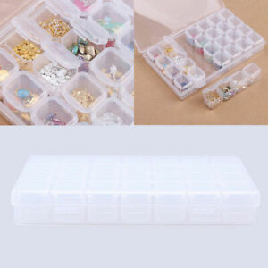 28 Slots Plastic Storage Box Clear Jewelry Container Organizer Case Adjustable