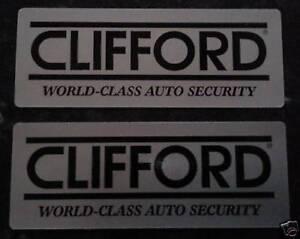 2 x ORIGINAL CLIFFORD CAR VAN ALARM SECURITY WINDOW STICKERS DECAL. BARGAIN BUY