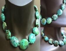Natural turquoise oval 19 inch silver clasp large beads necklace 8