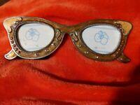 Enamel Eye Glasses Double Photo Picture Frame 2 1/2 x 1 1/2 Unique 6 1/4 Desk