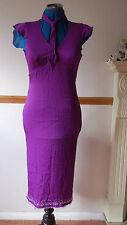 NEW Whistles Sz 6-12 100% Silk Purple aline summer dress Sequin & Diamante hem