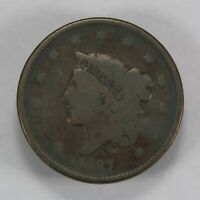 1837 1c CORONET HEAD LARGE CENT, EARLY U.S. COPPER COIN LOT#V695