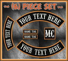 "CUSTOM EMBROIDERED 6 PIECE 13"" MC ROCKER PATCH SET NOMAD OUTLAW MOTORCYCLE BIKE"