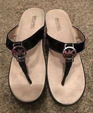 Michael Kors Black Patent Leather Wedge Thong Sandals Silver Logo Size 9