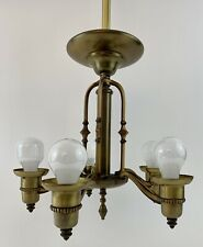 Antique/Vtg 5-Arm Brass Chandelier Hanging Ceiling Light Fixture Mission Lamp