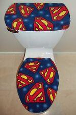 SUPERMAN Logo Fleece Fabric Toilet Seat Cover Set Bathroom Accessories