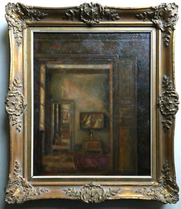 Antique French Impressionism oil painting Interior of a Castle France