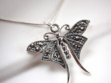 Marcasite Butterfly Necklace 925 Sterling Silver Corona Sun Jewelry