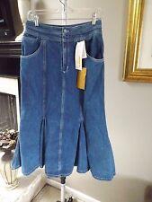 "Nwt 80's Chaus Sport Vintage Medium Wash Mermaid Denim Skirt Sz 12 W 28.5"""