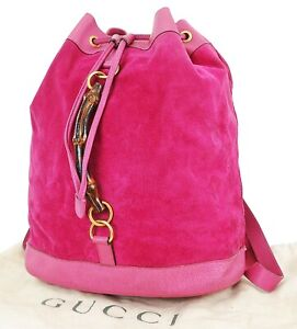 Authentic GUCCI Pink Suede and Leather Bamboo Handle Backpack Bag #38134A