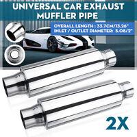 "2 Pc Exhaust 3.5 x 2"" x9 Inch Long Universal Silencer Resonator Muffler Back Box"