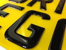 3D BLACK GEL Raised Letters Motorbike Number/Show Plate 9x7 Legal Size or 8x6