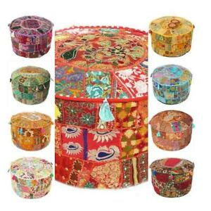 Indisch Hocker Ottomane Handmade Flickwerk Fußhocker Alt Vintage Bodenkissen