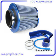 Blue 75mm/3'' Inlet Short Ram Cold Air Intake Filter Pipe Aluminum Cleaner Set