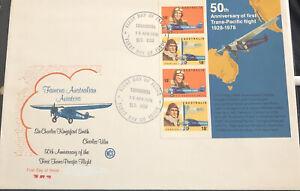 Australia Large FDC WCS 1978 Famous Australian Aviators 50th Anniversary