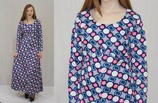 Vintage 60s Mod Blue Pink Op Art Circle Polka Dot Stripe Boho Maxi Dress~M