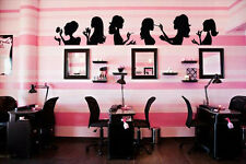 Vinyl Wall Decal Sticker Bedroom Hair Nail Salon Woman Girl Faces beauty r1669