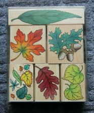Hand Stamps - Rubber on wood  - Hero Craft  - Leaves  - Boxed x 9