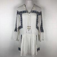 Chloe Oliver Anthropologie Womens Shift Dress White Peasant Drop Waist Tassel M