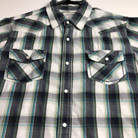 Urban Pipeline Men's Short Sleeve Button Up Shirt Large L Multicolor Plaid Snap