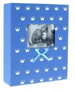 "Blue Slip In Photo Album 300 6"" x 4"" Photos Baby Boy Keepsake Birthday Gift"