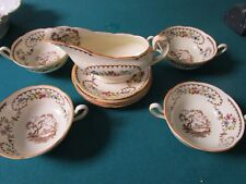 Royal Doulton The Beaufort Pattern 5 Cream Soup Cups Saucers Gravy Boat [*206H]