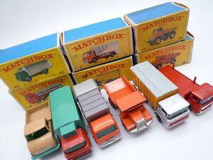 MATCHBOX LESNEY No.7c 10d 28d 44c 47c 49b DAF FORD MACK IN ORIGINAL BOXES 1960s
