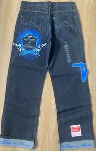 Time is Money baggy retro jeans, hip hop loose fit street skate pants size 32