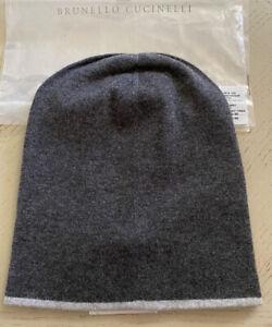 NWT $399 Brunello Cucinelli Mens Cashmere Beanie Hat DK Gray Size M Italy