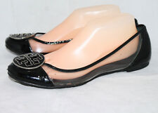 TORY BURCH Reva Clear & Black Patent Flats Wo's 10 Logo Toe Accent