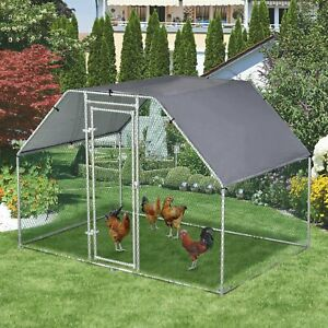 Large Metal Chicken House Walk-In Chicken Coop Run Cage w/ Cover Outdoor,