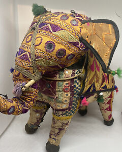 Mid Century 1950s Rajasthan Handwoven Patchwork Cotton Elephant, Indian Folk Art