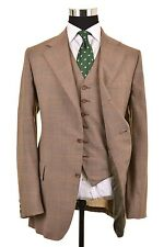 VTG Hackett's Brown Glen Plaid TWEED Wool 3pc Suit Jacket Pants Vest 38
