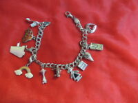 925 Charm Bracelet Sterling Silver Double Chain W/11 Charms