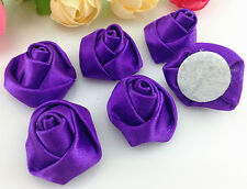 DIY 10/50/100PCS Satin Ribbon Rose Flower DIY Craft Wedding Appliques