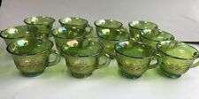 12 Vtg Carnival green Iridescent glass mugs Harvest princess punch cups Indiana