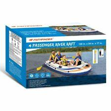 Pathfinder 4 Person Inflatable Raft Boat, Pump, 2 Oars Kayak River Rafting Beach